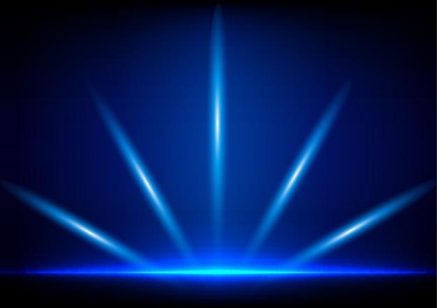 Absract Oświetlenie Na Niebieskim Tle Premium Wektorów