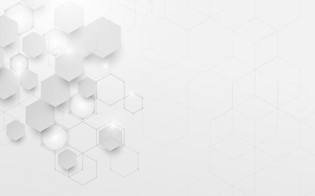 Abstrakcjonistyczna biała i szara geometryczna technologia cyfrowa cześć technika Premium Wektorów