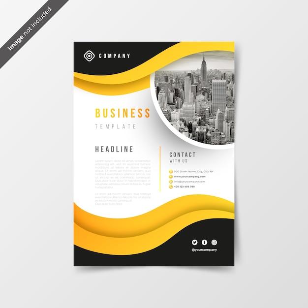 Abstrakcjonistyczna biznesowa ulotka z żółtymi fala Darmowych Wektorów