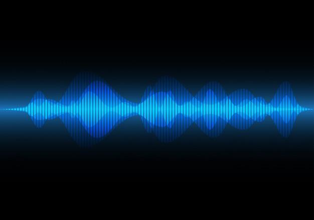 Abstrakcjonistyczna błękita światła fala dźwiękowa, muzyczny tło Premium Wektorów