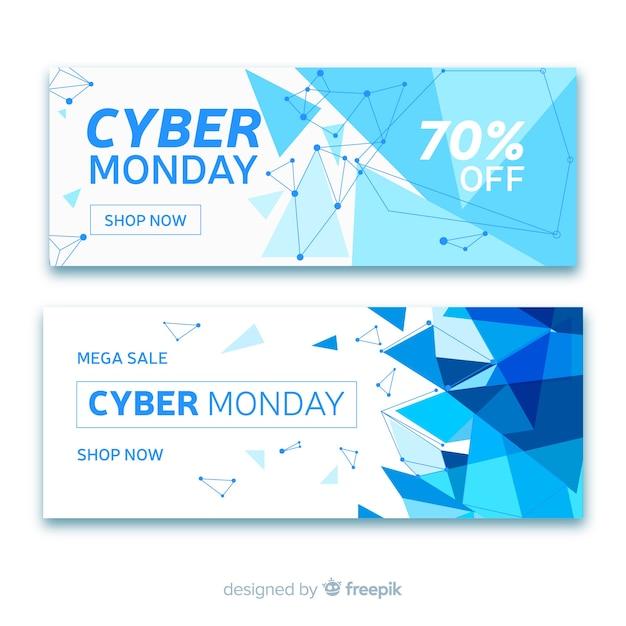 Abstrakcjonistyczna cyber poniedziałku sprzedaży sztandaru kolekcja Darmowych Wektorów