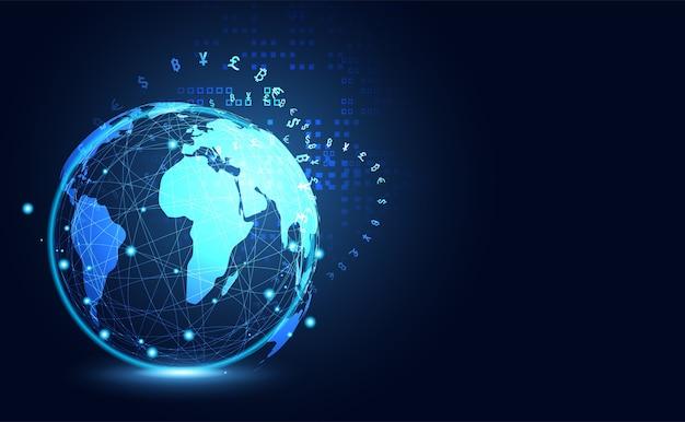 Abstrakcjonistyczna duży dane cryptocurrency technologia globalny cyfrowy Premium Wektorów