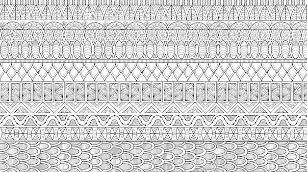 Abstrakcjonistyczna Kreskowa Sztuka Kwiat Dla Tła, Dorosła Kolorystyki Książki Ilustracja Premium Wektorów