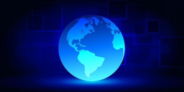 Abstrakcjonistyczna Technologii Cyber Sieć Na Błękitnym Tle. Duża Wizualizacja Danych. Premium Wektorów