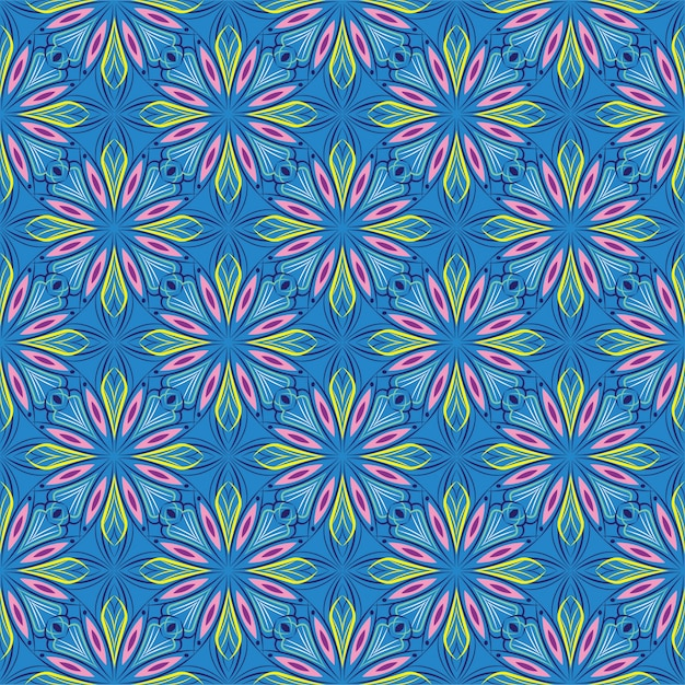 Abstrakcjonistyczna Tło Ornamentu Ilustracja, Bezszwowy Wzór Z Kwiatami Premium Wektorów