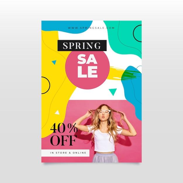 Abstrakcjonistyczna Wiosny Sprzedaży Ulotka Z Fotografią Darmowych Wektorów