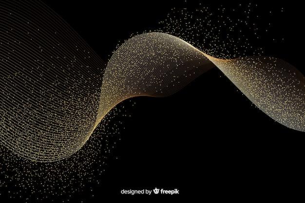 Abstrakcjonistyczna złota fala na ciemnym tle Darmowych Wektorów