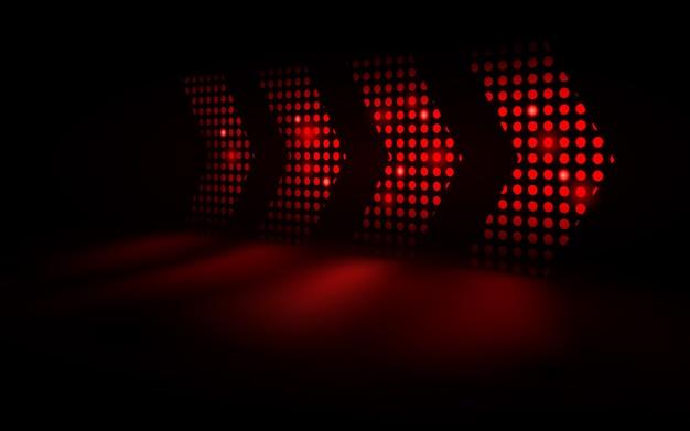 Abstrakcjonistyczne Czerwone światło Strzała Przyśpieszają Futurystyczny Na Ciemnym Tle. Premium Wektorów