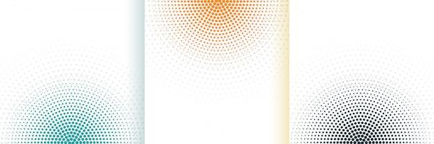 Abstrakcjonistycznego Halftone Biały Tło Ustawiający W Trzy Kolorach Darmowych Wektorów