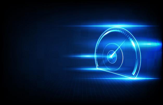 Abstrakcjonistycznego Tła Technologii Futurystyczny Halogram Samochodowy Interfejs Użytkownika Hud Ui Prędkości Metru Wymiernik Premium Wektorów