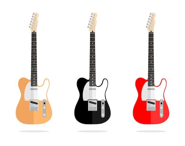Abstrakcjonistycznego wektorowego rocznika gitary projekta płaska kolekcja odizolowywająca Premium Wektorów