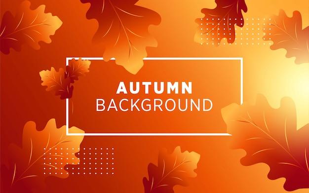 Abstrakcjonistycznej jesieni wektorowy tło z liściem i złotymi promieniami. Premium Wektorów