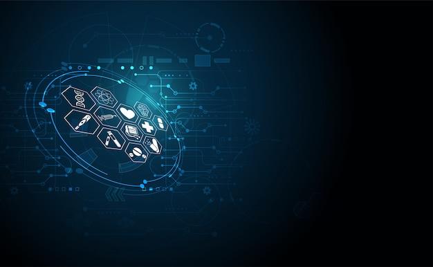 Abstrakcjonistycznej zdrowie nauki medyczne opieki zdrowotnej tła cyfrowa technologia Premium Wektorów