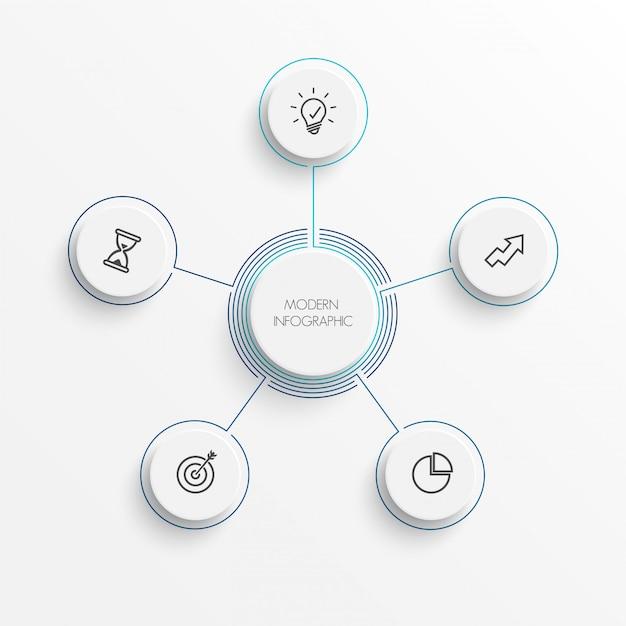 Abstrakcjonistyczni elementy wykresu infographic szablon z etykietką, zintegrowani okręgi. koncepcja biznesowa z 5 opcjami. w przypadku treści, diagramu, schematu blokowego, kroków, części, infografiki osi czasu, układu przepływu pracy, Premium Wektorów