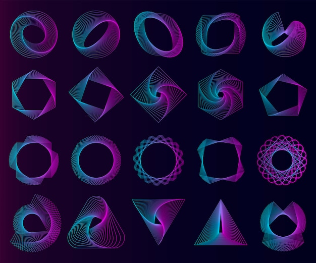 Abstrakcjonistyczni geometryczni elementy ustawiający wektor Darmowych Wektorów