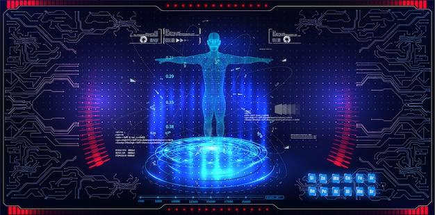 Abstrakcjonistyczni technologii ui pojęcia holograma holograma futurystyczni interfejsów elementy Premium Wektorów