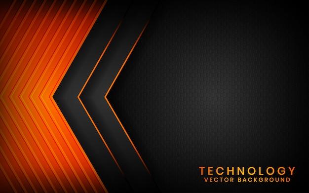Abstrakcjonistyczny 3d Czerni Technologii Tło Pokrywa Się Warstwy Na Ciemnej Przestrzeni Z Pomarańczowym Lekkiego Skutka Dekoracją Premium Wektorów