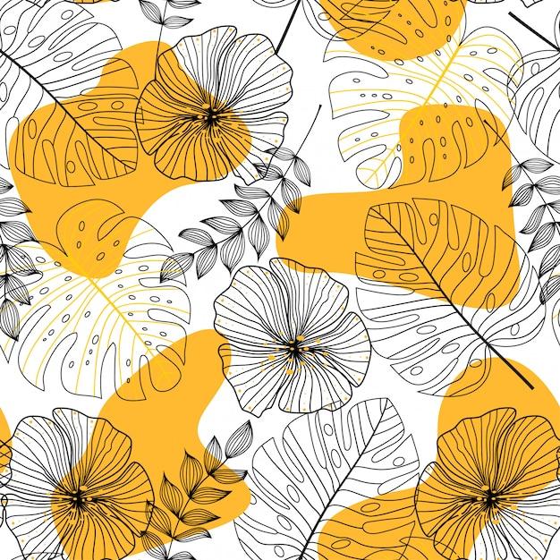 Abstrakcjonistyczny Bezszwowy Wzór Z Liśćmi I Kwiatami Premium Wektorów