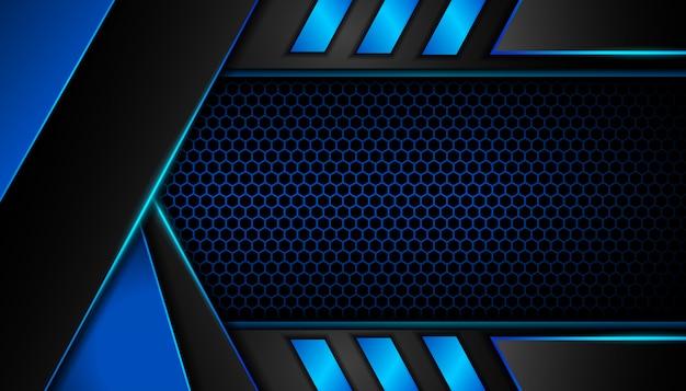 Abstrakcjonistyczny błękita światło na sześciokąta zmroku tle Premium Wektorów