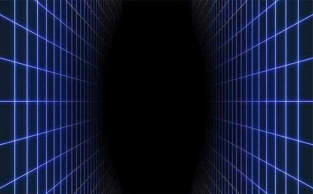 Abstrakcjonistyczny Błękitny Laserowy Siatki Tło. Retro Futurystyczny. Premium Wektorów