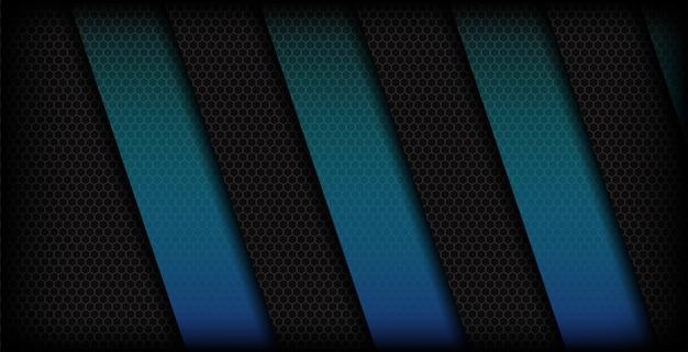 Abstrakcjonistyczny błękitny sześciokąt kształtuje ciemnego tło Premium Wektorów