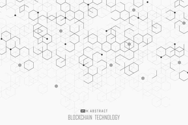 Abstrakcjonistyczny Blockchain Projekt Heksagonalny Stylowy Tło. Premium Wektorów