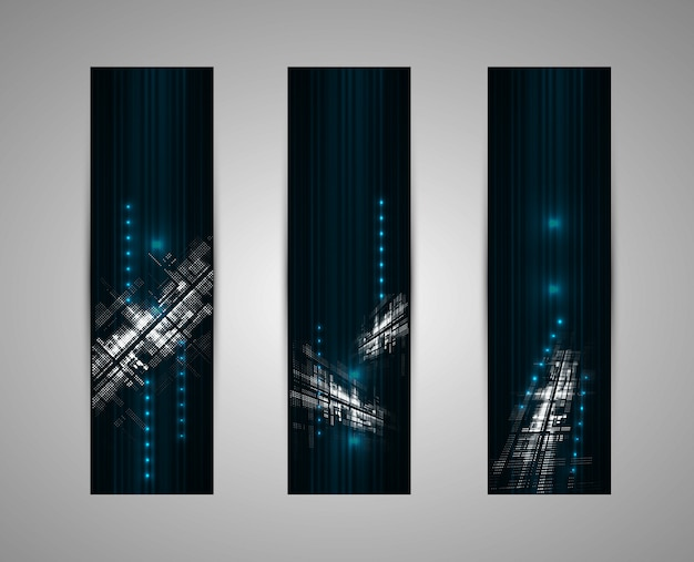 Abstrakcjonistyczny ciemny futurystyczny blaknie technologii biznesowego pionowo tło Premium Wektorów