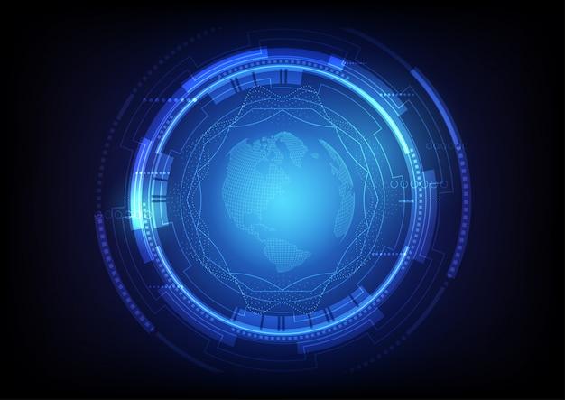 Abstrakcjonistyczny cyfrowy globalny technologii tło Premium Wektorów