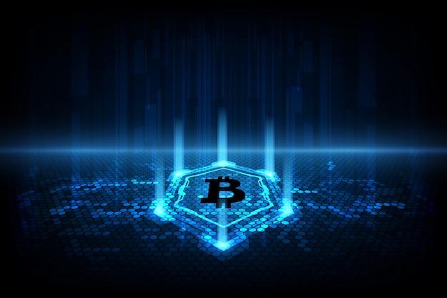 Abstrakcjonistyczny cyfrowy waluty bitcoin z blockchain tłem Premium Wektorów