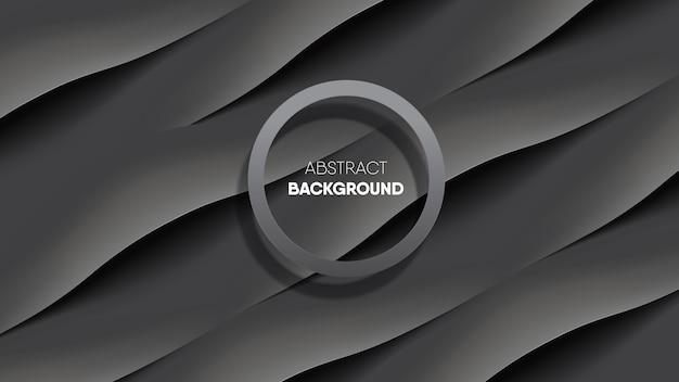 Abstrakcjonistyczny czarny gładki jedwabniczej tkaniny tło z okrąg ramą. Premium Wektorów