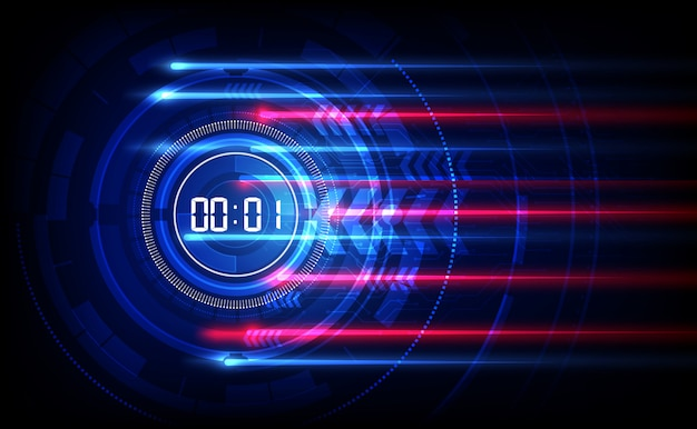 Abstrakcjonistyczny futurystyczny technologii tło z cyfrowym numerowym zegarem i odliczanie Premium Wektorów