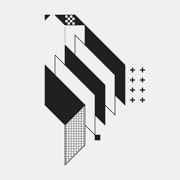 Abstrakcjonistyczny Geometryczny Element Na Białym Tle. Przydatny Jako Okładka Cd, Druk Lub Plakat. Premium Wektorów