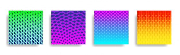 Abstrakcjonistyczny Kolorowy Halftone Geometryczny Kształtów Tła Set Premium Wektorów