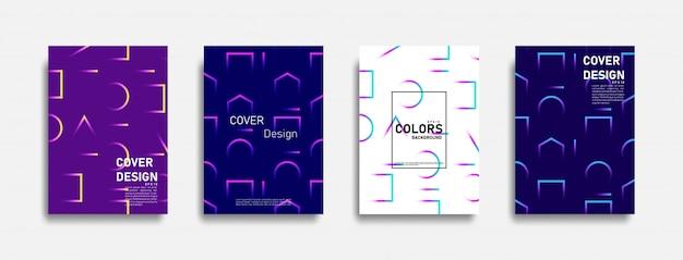 Abstrakcjonistyczny Kolorowy Kreskowy Projekta Tła Set Premium Wektorów