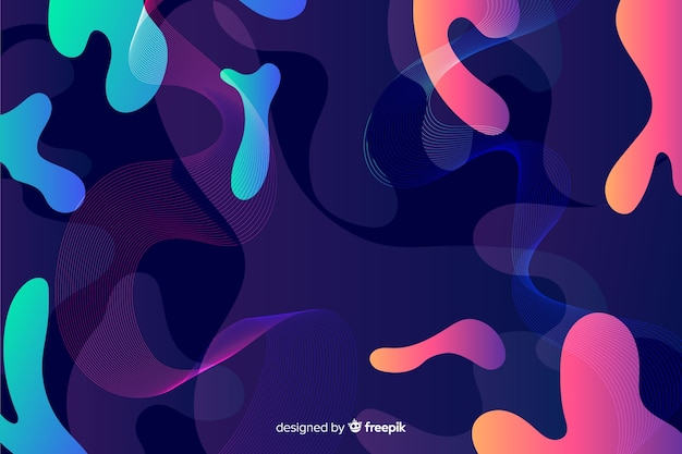 Abstrakcjonistyczny kolorowy przepływ kształtuje tło projekt Darmowych Wektorów