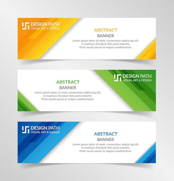 Abstrakcjonistyczny kolorowy sztandaru szablon Premium Wektorów