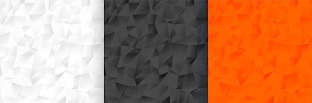 Abstrakcjonistyczny Low Poly Trzy Koloru Tła Wzoru Set Darmowych Wektorów