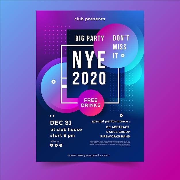 Abstrakcjonistyczny plakat nowy rok partyjna noc Darmowych Wektorów