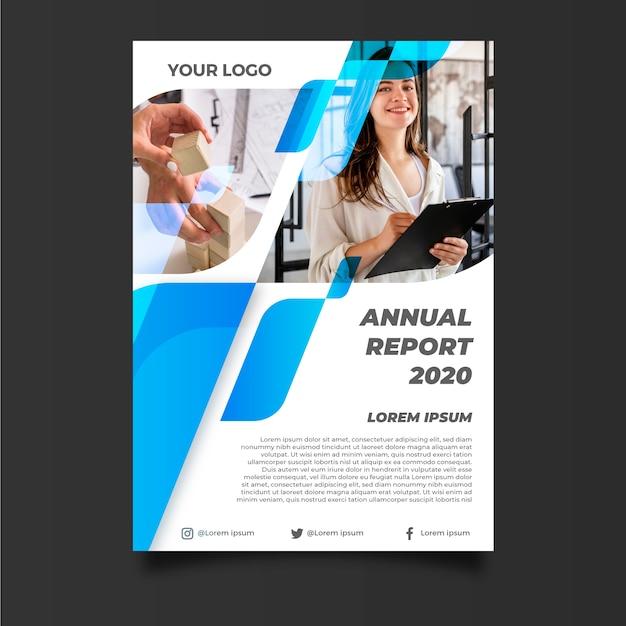 Abstrakcjonistyczny Sprawozdanie Roczne Szablon Z Bizneswomanem Darmowych Wektorów