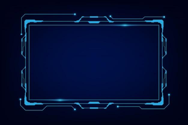 Abstrakcjonistyczny techniki sci fi holograma ramy szablonu projekta tło Premium Wektorów