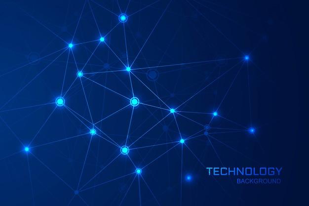Abstrakcjonistyczny Technologii Nauki Tło Z łączącym Wielobok Linii Projektem Darmowych Wektorów