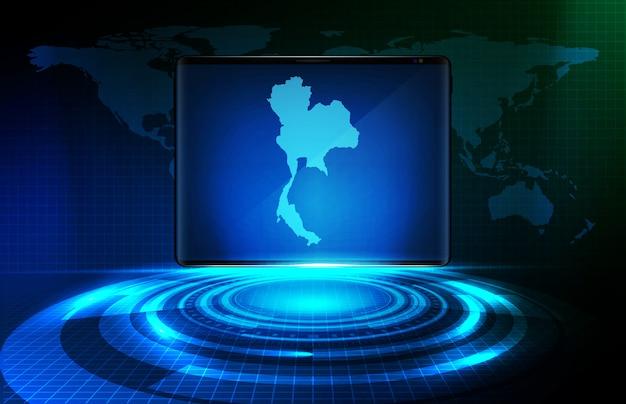 Abstrakcjonistyczny Tło Błękitny Futurystyczny Technologia Halograma Vr Hud Element I Tajlandia Mapy Na Mądrze Pastylce Premium Wektorów