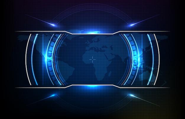 Abstrakcjonistyczny Tło Round Futurystyczny Technologia Interfejsu Użytkownika Ekranu Hud Premium Wektorów