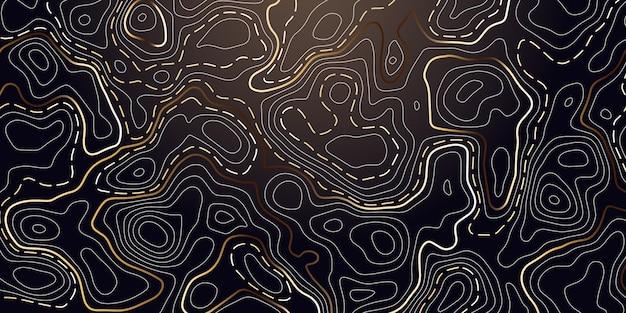 Abstrakcjonistyczny tło z złotym topograficznym konturem. Premium Wektorów