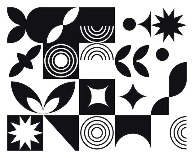 Abstrakcyjna Geometryczna Fototapeta Czarno-białe Tło W Stylu Bauhaus Premium Wektorów