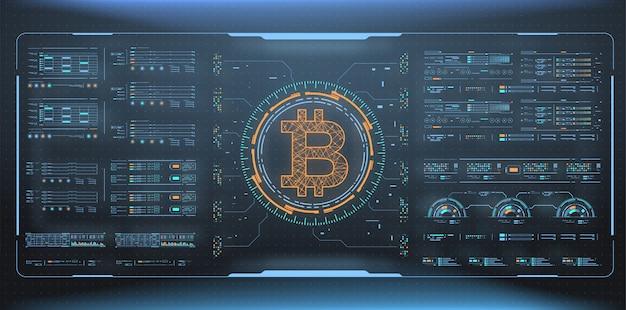 Abstrakcyjna wizualizacja technologii bitcoin. futurystyczny estetyczny design. symbol bitcoin z elementami hud. futurystyczny interfejs użytkownika Premium Wektorów