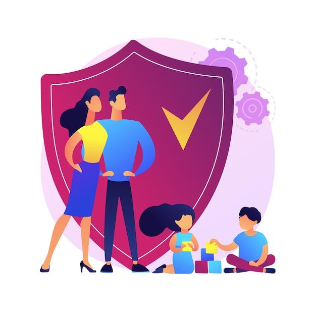Abstrakcyjne Pojęcie Ubezpieczenia Rodzinnego. Dzieci Bawiące Się, Podczas Gdy Rodzice Się Nimi Opiekują Darmowych Wektorów