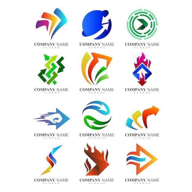 Abstrakcyjne Szablony Logo Firmy Strzałek Premium Wektorów