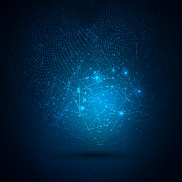 Abstrakcyjne tło technologia globalna z łączących się kropek Darmowych Wektorów