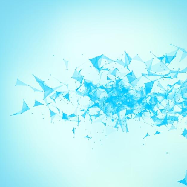 Abstrakcyjne tło wektor niebieski oczek. chaotycznie połączone punkty i wielokąty latające w kosmosie. latające gruzy. futurystyczny styl technologii karty. linie, punkty, okręgi i płaszczyzny. futurystyczny wygląd. Darmowych Wektorów